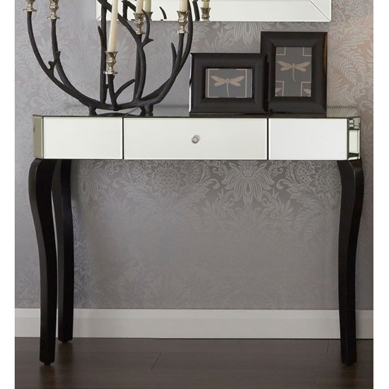 View Orca mirrored console table with black wooden legs