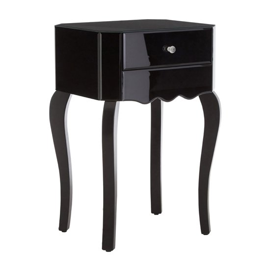 Orca Mirrored High Gloss Side Table In Black