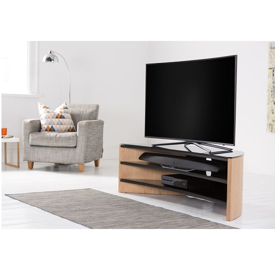 Orchard Wooden Curve TV Stand In Light Oak With Black Glass