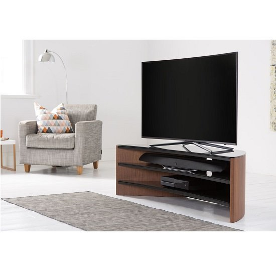 Orchard Wooden Curve TV Stand In Walnut With Black Glass