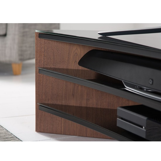 Orchard Wooden Curve TV Stand In Walnut With Black Glass_4