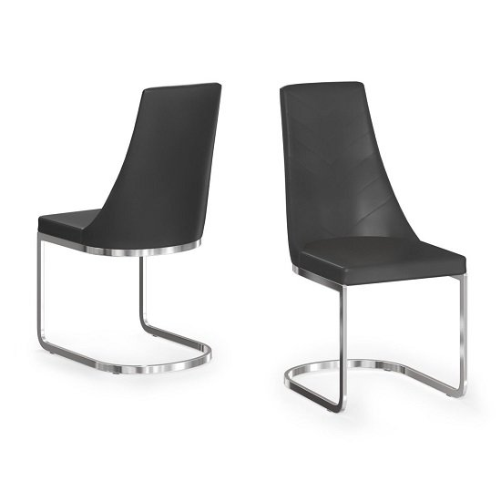 Ordonez Faux Leather Dining Chair In Black In A Pair