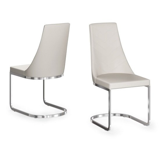 Ordonez Faux Leather Dining Chair In Cream In A Pair