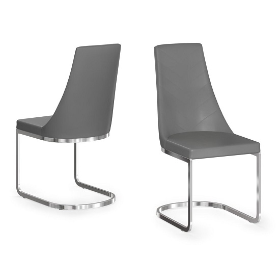 Ordonez Faux Leather Dining Chair In Grey In A Pair