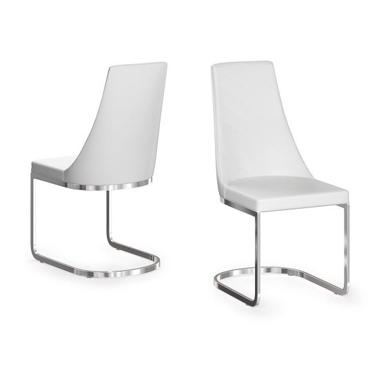 Ordonez Faux Leather Dining Chair In White In A Pair