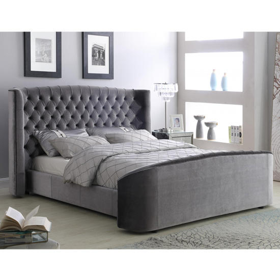 Oregon Velvet Upholstered King Size Bed In Silver