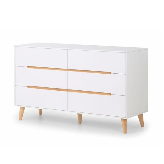 Oregon Chest Of Drawers Wide In Matt White And Oak