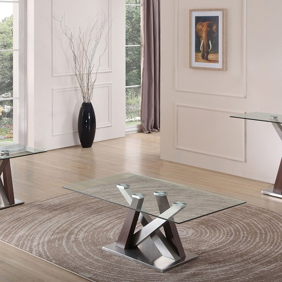 Oregon Glass Coffee Table With Brush Stainless Steel And Walnut