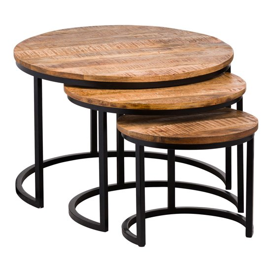 Oren Set Of 3 Industrial Wooden Nesting Tables In Natural