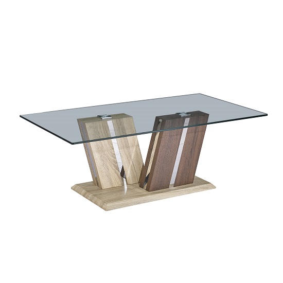 Oreo Glass Coffee Table In Clear With Light And Dark Wood Base