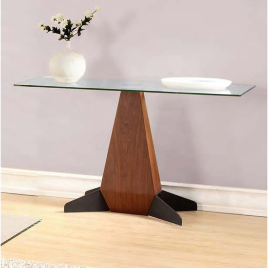 Oreo Clear Glass Console Table