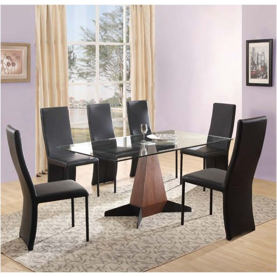 Oreo Clear Glass Dining Table And 6 Cesar Chairs