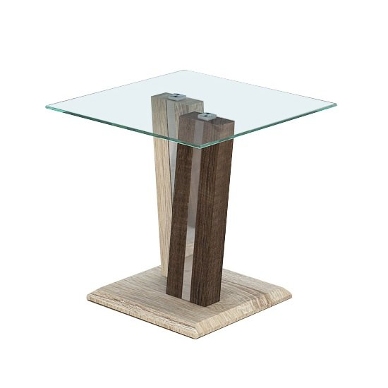 Oreo Glass End Table In Clear With Light And Dark Wood Base