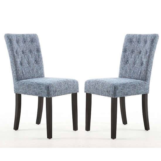 Oriel Dining Chair In Oxford Blue With Brown Legs In A Pair_1