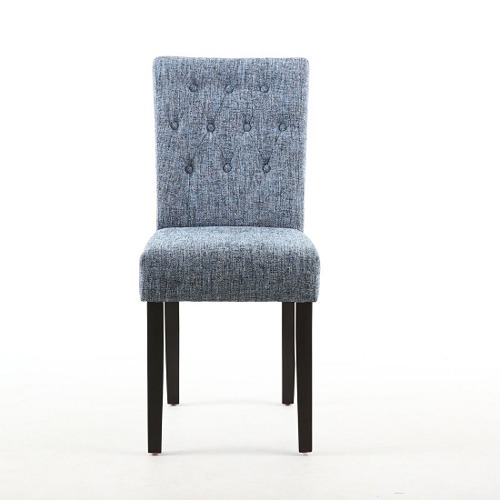 Oriel Dining Chair In Oxford Blue With Brown Legs In A Pair_2