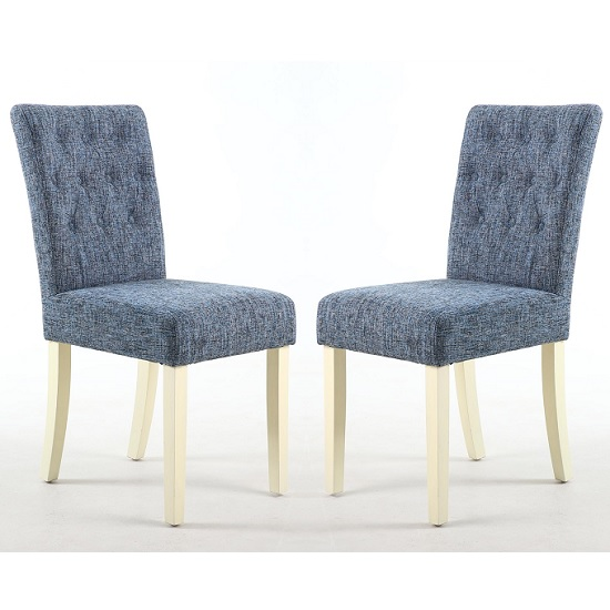 Oriel Dining Chair In Oxford Blue With Cream Legs In A Pair
