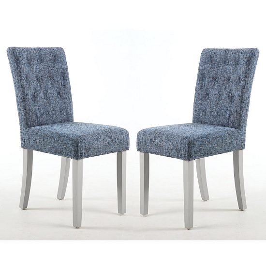 Oriel Dining Chair In Oxford Blue With Grey Legs In A Pair