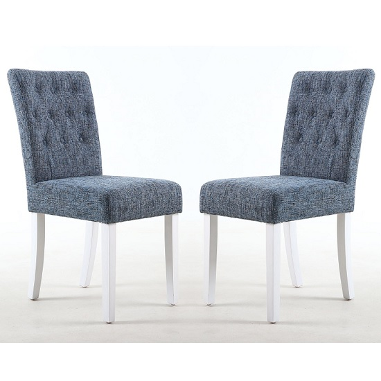 Oriel Dining Chair In Oxford Blue With White Legs In A Pair_1