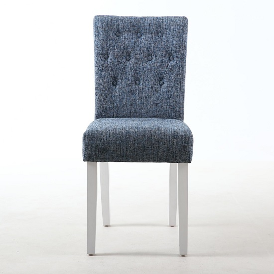 Oriel Dining Chair In Oxford Blue With White Legs In A Pair_2