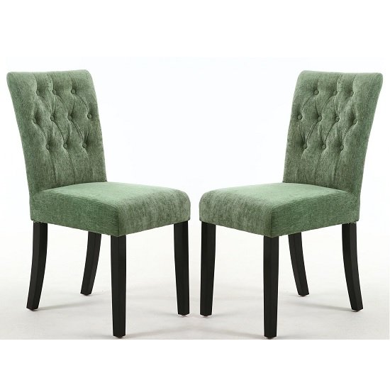 Oriel Dining Chair In Olive Green With Black Legs In A Pair_1