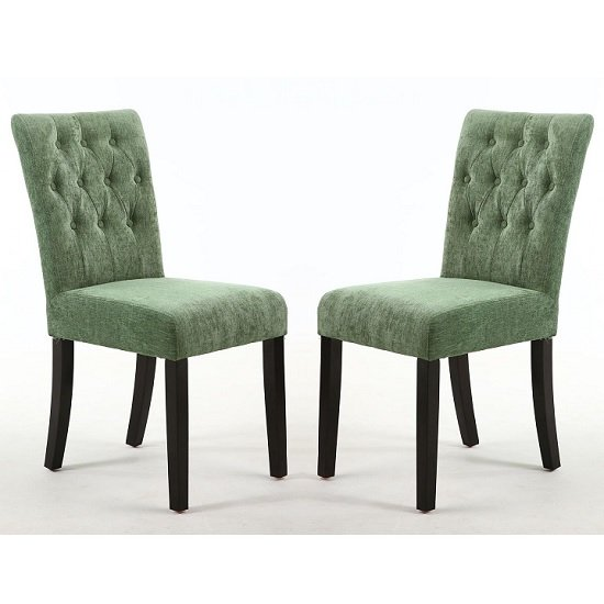 Oriel Dining Chair In Olive Green With Brown Legs In A Pair
