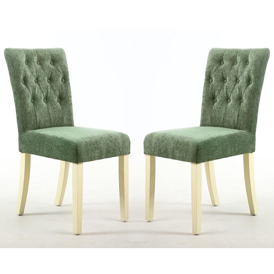 Oriel Dining Chair In Olive Green With Cream Legs In A Pair