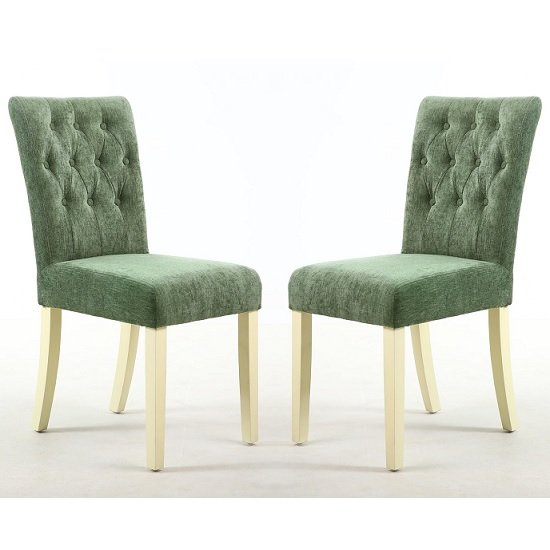 Oriel Dining Chair In Olive Green With Cream Legs In A Pair_1