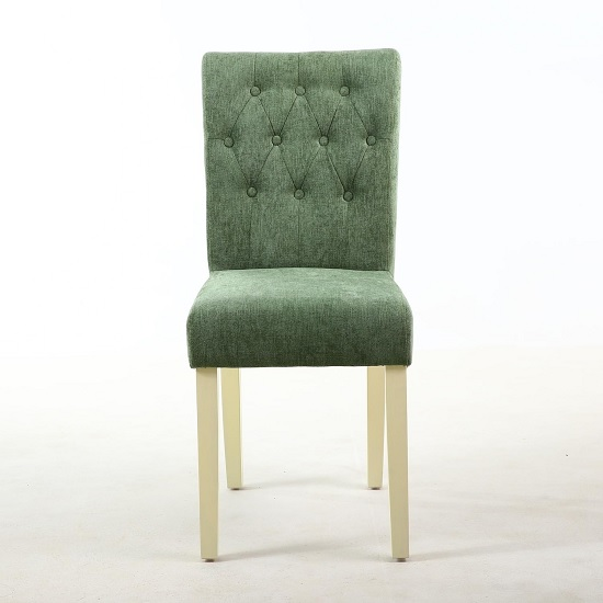 Oriel Dining Chair In Olive Green With Cream Legs In A Pair_2