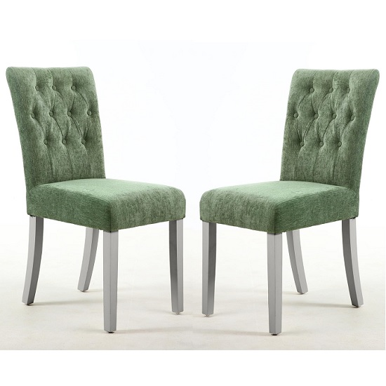 Oriel Dining Chair In Olive Green With Grey Legs In A Pair