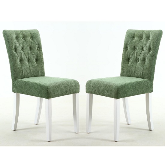 Oriel Dining Chair In Olive Green With White Legs In A Pair
