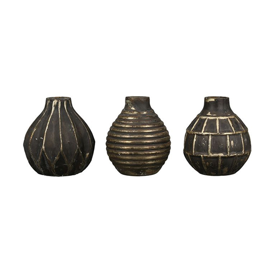 Orient Glass Set Of 3 Small Vases In Antique Brown And Gold