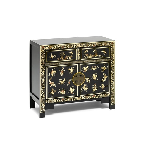 Oriental Compact Sideboard In Black Decorated Gold Leaf Edging