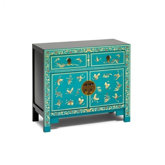Oriental Compact Sideboard Blue With Decorated Gold Leaf Edging