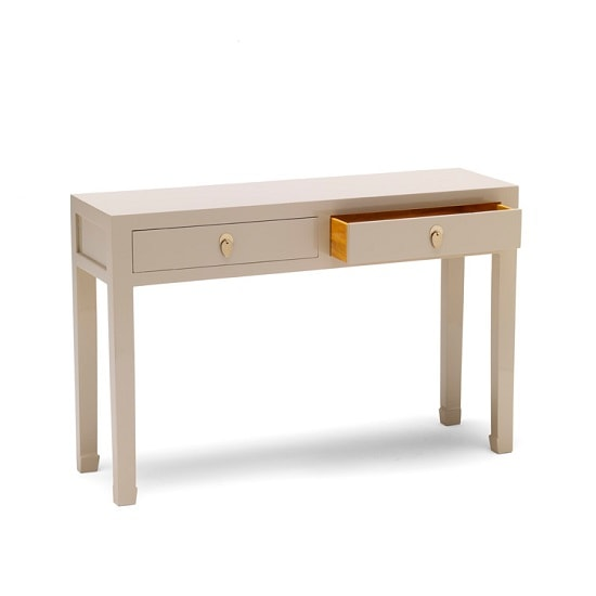 Oriental modern console table in oyster grey with 2 drawers - Contemporary console tables with drawers ...