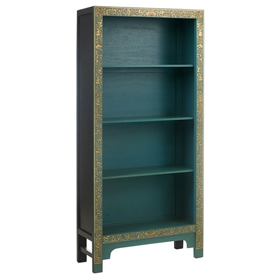 Oriental Large Bookcase In Blue And Decorated Gold Leaf Edging