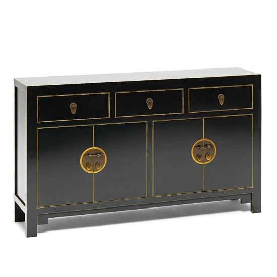 Oriental Wooden Sideboard In Black With Gilt Gold Leaf Edging