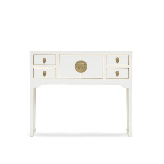 Oriental Console Table Small In White And Gilt Gold Leaf Edging 3