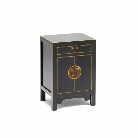 Oriental Storage Cabinet Small In Black And Gilt Gold Leaf Edge
