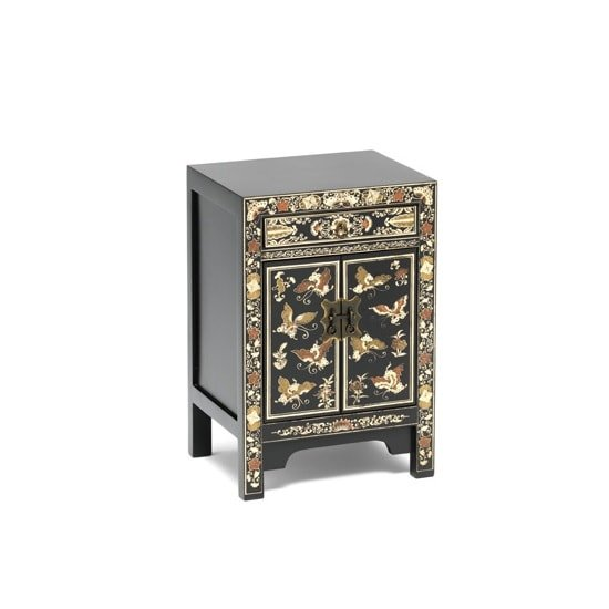 Oriental Storage Cabinet Small In Black Decorated Gold Leaf Edge