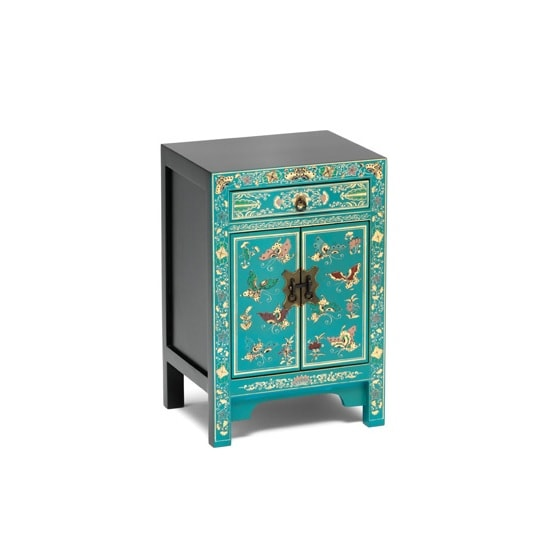 Oriental Storage Cabinet Small In Blue Decorated Gold Leaf Edge