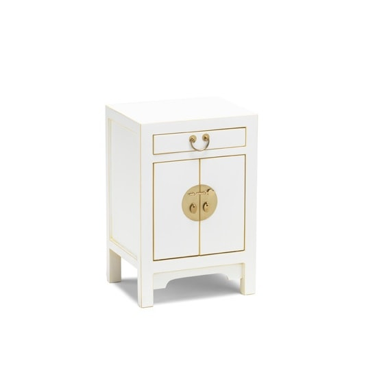Oriental Storage Cabinet Small In White And Gold Leaf Edge
