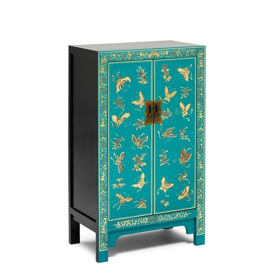Oriental Storage Cabinet In Blue And Decorated Gold Leaf Edging