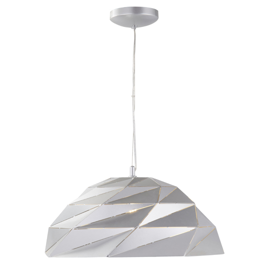 Origami Dome Pendant Ceiling Light In Metallic Silver