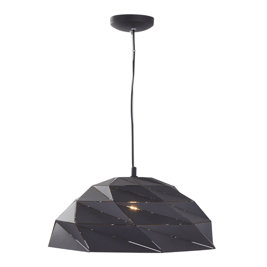 Origami Dome Pendant Ceiling Light In Sanded Black