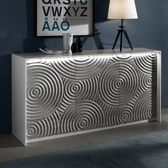 Orino Wooden Sideboard In White Lacquered Pattern With LED