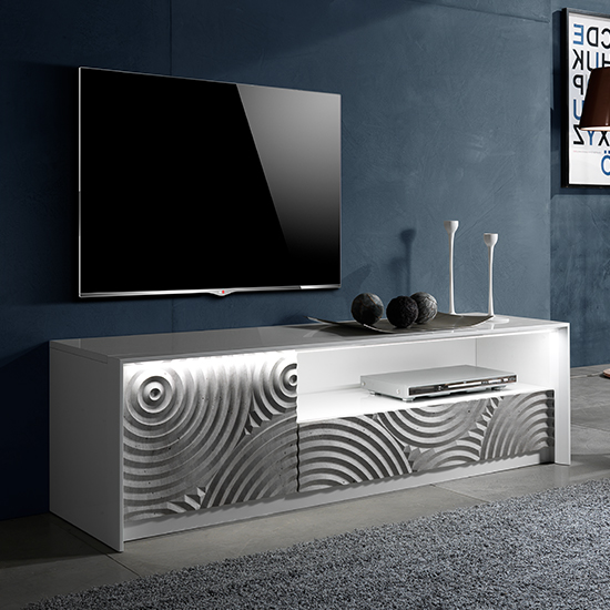 Orino Wooden TV Stand In White Lacquered Pattern With LED