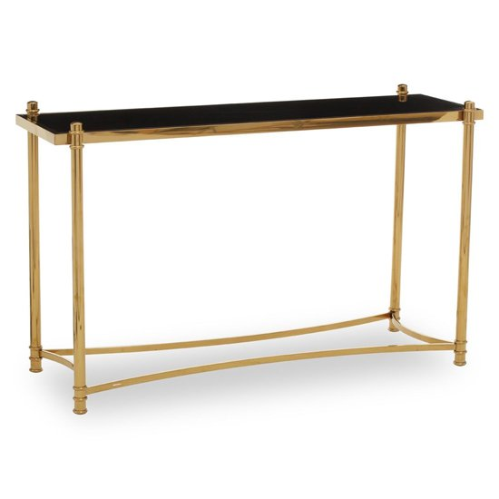View Orion black glass top console table with gold metal frame