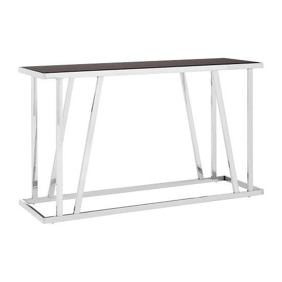 Orion Glass Console Table Rectangular In Black With Steel Frame
