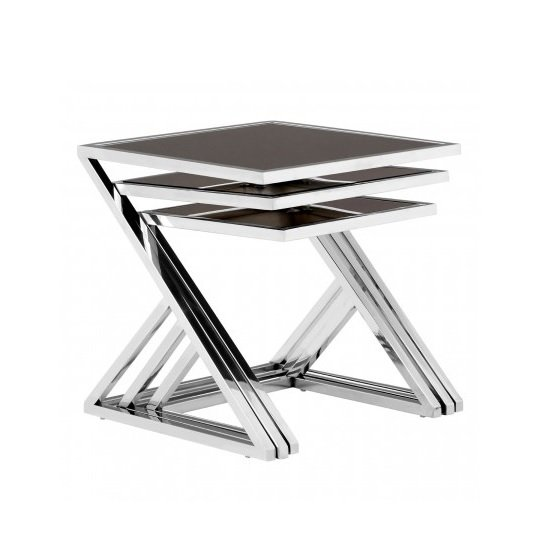 Orion Glass Nest of 3 Tables In Black With Silver Frames