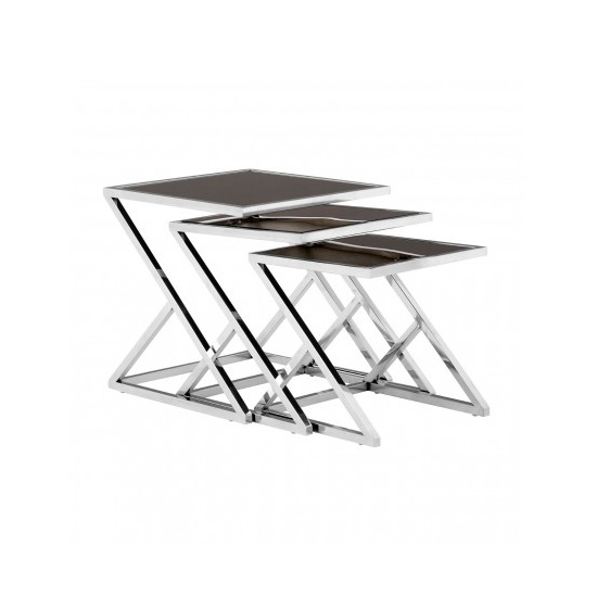 Orion Glass Nest of 3 Tables In Black With Silver Frames_2